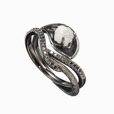 Black wedding ring set w/ black diamond ring raw diamond
