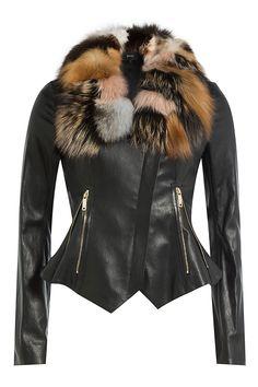 JITROIS - Leather Jacket with Fox Fur | STYLEBOP