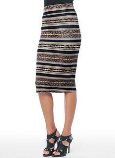 Jersey-knit pencil skirt with striped pattern.  Falls below the knee.  BB Dakota Official Store, BBDK-1541 Joel Skirt, bbdakota.com