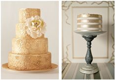 Gold wedding cakes.  Want to see more GORGEOUS CAKE designs? Click --> http://modernweddingshawaii.com/cake-trends/