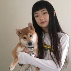 Cute asian girl with a shiba Umibe No Onnanoko, Instagram Cool, Japonese Girl, Soft Grunge Hair, Alternative Makeup, Uzzlang Girl, Brown Blonde Hair, Photo Reference, Makeup Looks