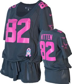 Jason Witten Women's Dark Grey #82 Dallas Cowboys Nike Breast Cancer Awareness Fashion Jersey