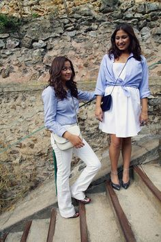 #chic #blue #jeans #redvalentino #valentino #casual #ootd #fashion #blog #twins #shirt #hackett #white #outfit
