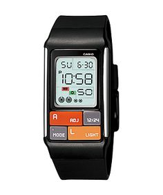Casio Poptone (Model no. LDF-50). This is the watch I slap on when I have to run errands. It's got a backlight so sometimes I wear it to the movies. Almost looks like something Dick Tracy would've worn.
