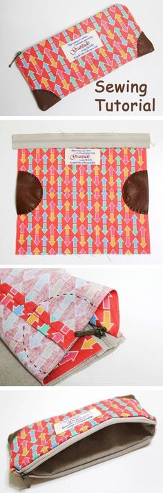 bag pouch How to sew a pencil case or cosmetics bag with a zip. DIY in pictures tutorial. http://www.handmadiya.com/2015/10/zipper-pencil-case_21.html