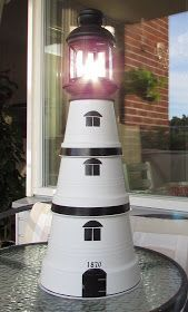 Grandma's Wicker Basket Willa Tuta: Make it your own lighthouse … – World of Flowers Clay Pot Projects, Clay Pot Crafts, Diy Clay, Diy Projects, Painted Clay Pots, Painted Flower Pots, Solar Light Crafts, Solar Lights, Beach Crafts