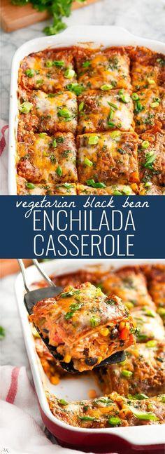 Vegetarian Black Bean Enchilada Casserole |