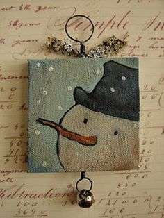 Painted Wooden Block, Snowman