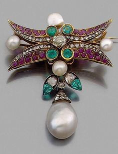 An antique gold, silver, pearl, ruby, emerald and diamond brooch, circa 1860. Designed as a stylised floral branch, set with pearls, emeralds, diamonds and rubies, suspending a fine pear-shaped pearl, mounted in gold and silver. #antique #brooch