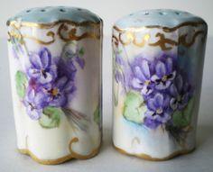 violets salt and pepper set