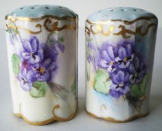 violets salt and pepper set