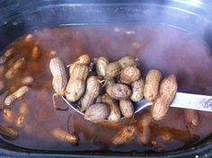 Cajun Boiled Peanuts ~ 2 lbs raw peanuts, 4 oz Old Bay seasoning, 2 tbsp garlic powder, 2 tbsp Cajun seasoning, 2 tbsp red pepper flakes, 3/4 cup salt ~ Place all ingredients in slow cooker, cover with water and stir, cook on low for 16-20 hours