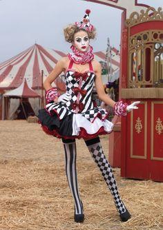 Deluxe Harlequin Clown Costume