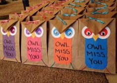 Made these owl gift bags (fill them with little toys and mini play dough) for my sons primary class as going away gifts when we moved.