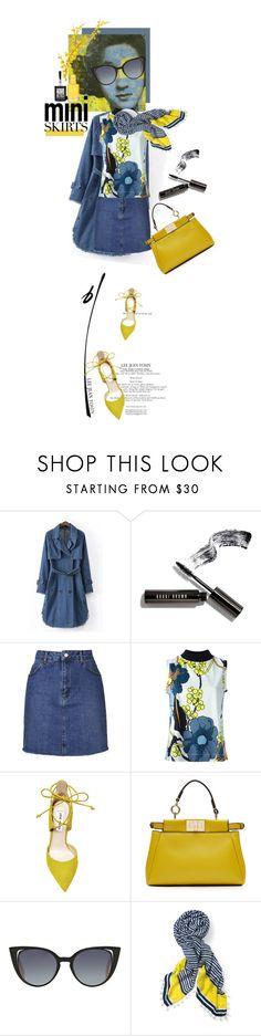 """Miniskirt"" by kari-c ❤ liked on Polyvore featuring WithChic, Bobbi Brown Cosmetics, Topshop, FRUIT, Marni, Steve Madden, Fendi, Stella & Dot, Maybelline and MINISKIRT"