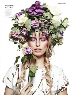 Karolina Kurkova by John-Paul Pietrus on the cover of Stylist Magazine February 2014 Issue Editorial Photography, Fashion Photography, Modelling Photography, Photography Flowers, Photography Lighting, Manequin, Floral Headdress, Magazine Mode, Magazine Covers