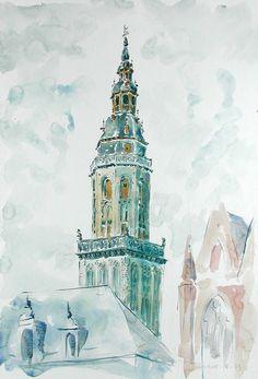 John Leech,Veurne, original architectural watercolours