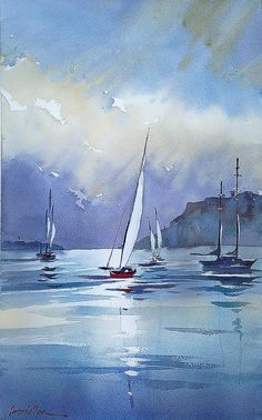 Watercolor by Thomas Schaller Watercolor Landscape, Landscape Paintings, Watercolor Paintings, Watercolors, Gouache Painting, Sailboat Painting, City Painting, Painting Abstract, Boat Art