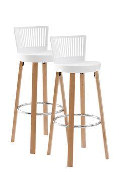 Barstol med runda former och ryggstöd för extra komfort. Material: Plast (polypropylene) och trä. Storlek: Höjd 96,5 cm, bredd 39 cm, djup 41 cm, sitthöjd 76 cm. Beskrivning: 2-pack barstolar med sits av plast och ben av björk. Skötselråd: Torkas med fuktig trasa. Tips/råd: Inred en plats för snabbfrukost vid köksön eller bänken. Eller varför inte något gott vid bardisken?