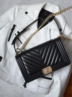 fb7b81d937a0 Boy Herringbone Chebron Medium Black Calfskin Leather Shoulder Bag