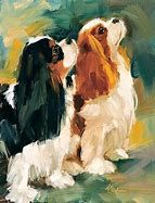 Cavalier King Charles Spaniels Beautiful dogs in a beautiful picture! By Lindsey Bittner Graham Cavalier King Charles Spaniel, Dog Artwork, Cockerspaniel, Dog Portraits, Animal Paintings, Illustrations, Pet Birds, Painting & Drawing, Drawings