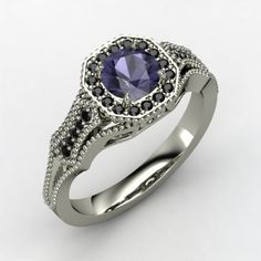 The Melissa Ring #customizable #jewelry #iolite #blackdiamond #palladium #ring