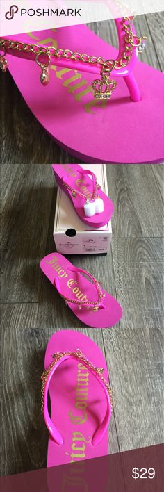 Juicy Couture Charm Hot Pink Thongs Flip Flops Brand new. Sz 4 youth fits 5-6 women. Hot pink with fun gold charms. Juicy Couture Shoes Sandals