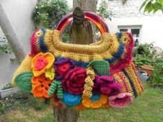 Knit and crochet small bag - tutorial (fren)