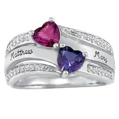 Celebrate your lives joined together with this romantic couple's ring featuring your own heart-shaped simulated birthstones plus 28 radiant cubic zirconia stones.