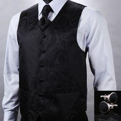 Kvalitná hodvábna pánska vesta + vreckovka, kravata a gombíky - čierna