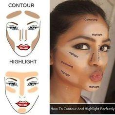 Contour Makeup, Contouring And Highlighting, Skin Makeup, Makeup Brushes, Contouring Guide, Makeup Remover, Highlighter Makeup, Eyeshadow Brushes, Stick Concealer