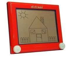 Etch-a-Sketch. You could never make the drawings look as good as the ones on the tv.