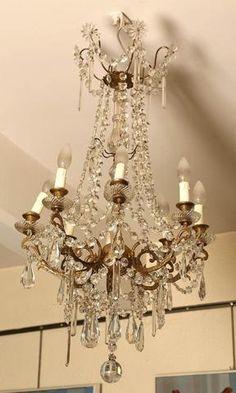 Lustre pampilles verre -XIXème - 97x53 cm
