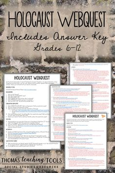 Holocaust Webquest with Answer Key - Middle and High School Social History Resource