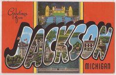 JACKSON Michigan Large Letter Postcard - Kropp Linen c1940s Unused