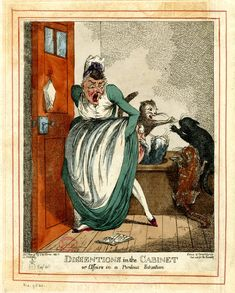 An elderly woman, the old maid of caricature, sits screaming in a water-closet, with raised petticoats.  Behind her four cats are fighting and she has been (incidentally) scratched in the fray. 4 May 1801  Hand-coloured etching