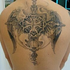 Winged Cross Tattoo Design~
