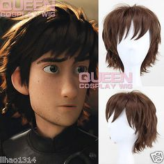How To Train Your Dragon Hiccup Cosplay Wig Cool Brown Short Anime Wig For  Men d61e7dfa10d2