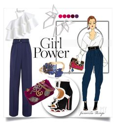 """""""What's Your Power Look?"""" by kari-c ❤ liked on Polyvore featuring Marc Jacobs, Chicwish, Roksanda, Christian Louboutin, Gucci, W. Britt, Banana Republic, Deborah Lippmann and MyPowerLook"""