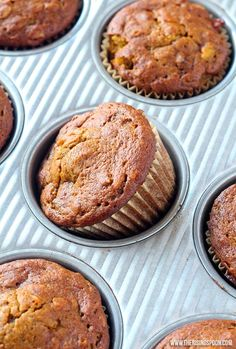 Healthy Pumpkin Apple Muffins - The Rising Spoon Healthy Meals For Two, Healthy Desserts, Fall Desserts, Eating Healthy, Healthy Foods, Healthy Recipes, Apple Muffins, Baking Muffins, Muffin Recipes