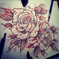 #tattoo #tattooflash #sketch #roses #flower