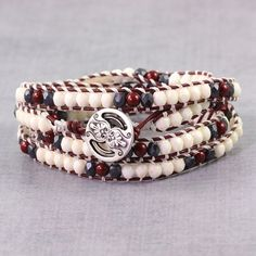 Maroon Bracelet Hippie Jewelry Skinny Bracelet Burgundy Leather Gray Boho Jewelry Boho Wrap Bracelet Bohemian Jewelry Cream Beaded Bracelet  Four gorgeous wraps of Czech beads (4mm) in maroon,...@ artfire