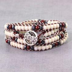 Maroon Bracelet Hippie Jewelry Skinny Bracelet Burgundy Leather Gray Boho Jewelry Boho Wrap Bracelet Bohemian Jewelry Cream Beaded Bracelet  Four gorgeous wraps of Czech beads (4mm) in maroon,...@ artfire