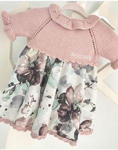Dress Patterns For Little Girls Fabrics Knitting Baby Girl, Baby Girl Crochet, Knitting For Kids, Baby Knitting Patterns, Baby Girl Party Dresses, Baby Dress, Baby Girl Dress Patterns, Crochet Fabric, Crochet Top