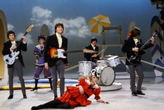 The Kinks perform on the NBC TV music show 'Hullabaloo' in February 1965 in New York City