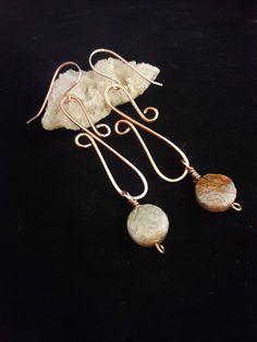 crazy lace agate laughter stone earrings crazy lace agate earrings chalcedony earrings copper dangle earrings agate earrings gift for her