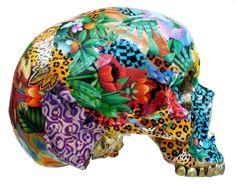 Collage Skull Sculpture