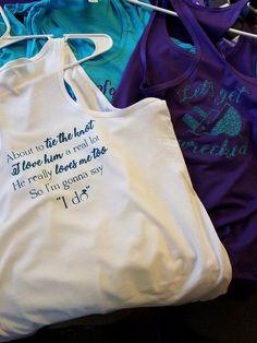 bridal tanks. Bridal poem. shirt poem. glitter.