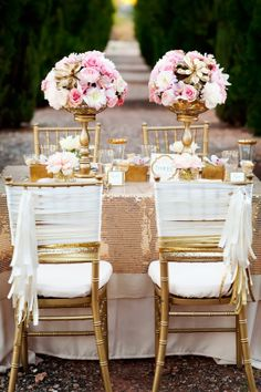 gold and blush pinwheel decoration | blush peony creates a romantic accent for each place setting