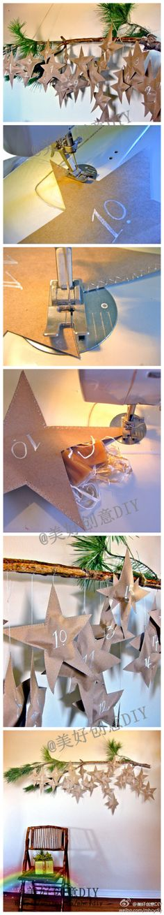 advent calender. This is fun! I could sew up the stars and put them on the tree. Put an activity in each one. Use paper bags to make...